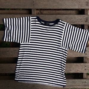 J. Crew contrasting nautical navy striped top
